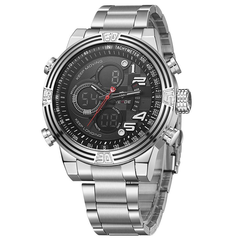 Weide WH5209-1C-BLACK DIAL Silver Stainless Steel Strap Watch for Men- - Watchportal Philippines