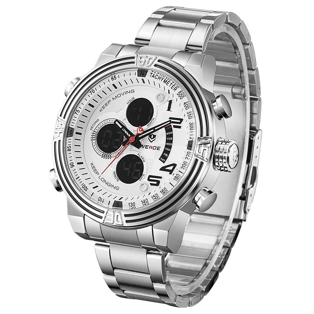 Weide WH5209-2C-WHITE DIAL Silver Stainless Steel Strap Watch for Men- - Watchportal Philippines