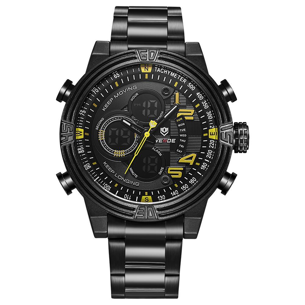 Weide WH5209B-3C-YELLOW INDEX Black Stainless Steel Strap Watch for Men- - Watchportal Philippines