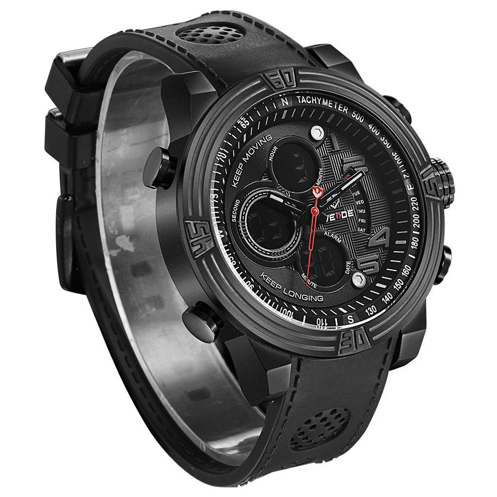 Weide WH5209B-5C-GRAY INDEX Black PU Strap Watch for Men- - Watchportal Philippines