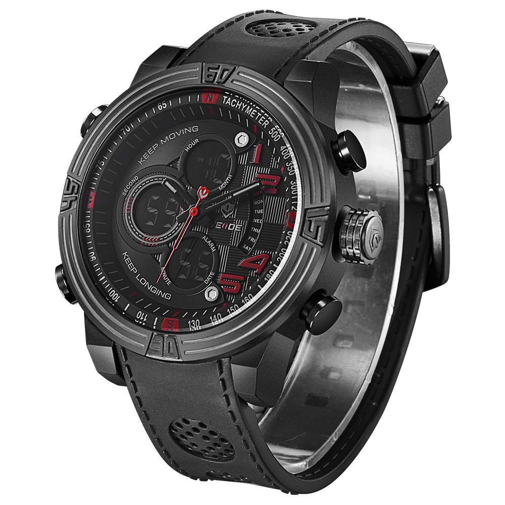 Weide WH5209B-6C-RED INDEX Black PU Strap Watch for Men- - Watchportal Philippines