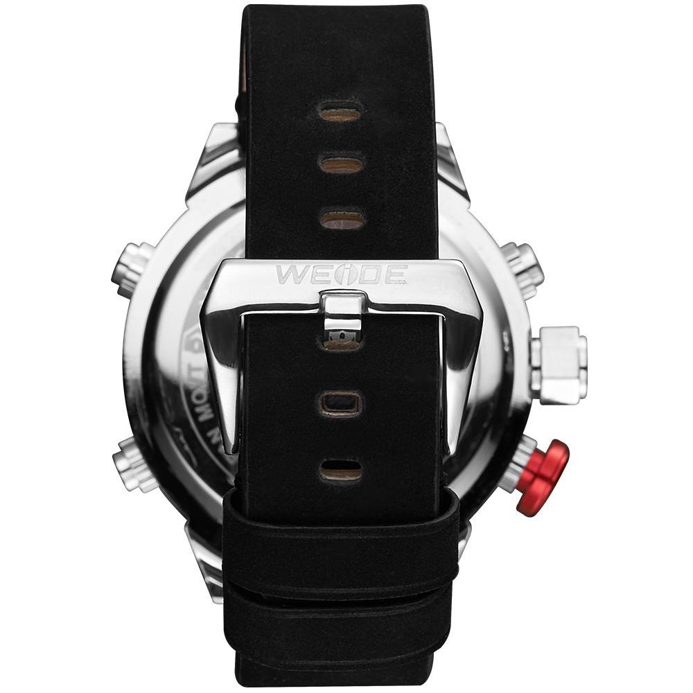 Weide WH6101-1C-BLACK DIAL Black Genuine Leather Strap Watch for Men- - Watchportal Philippines