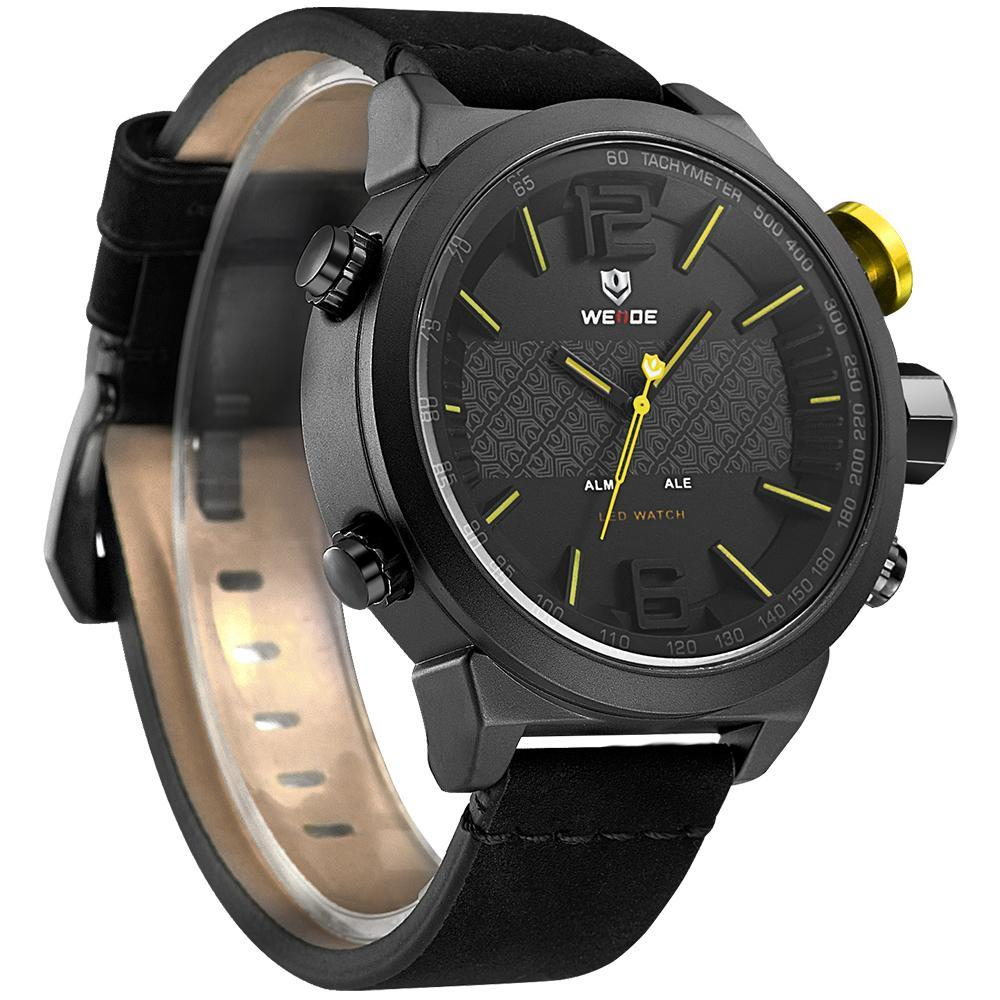 Weide WH6101B-2C-YELLOW INDEX Black Genuine Leather Strap Watch for Men- - Watchportal Philippines