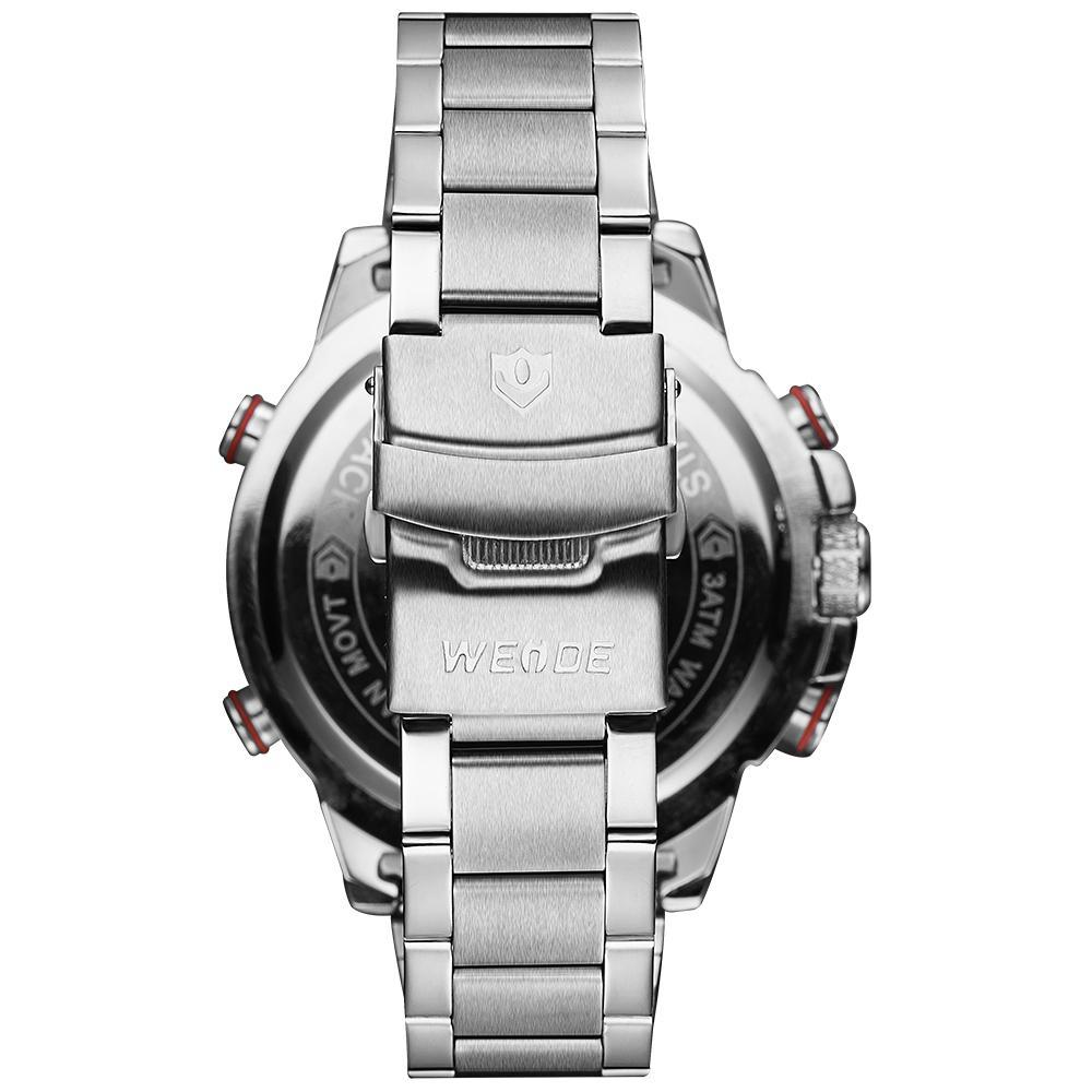 Weide WH6102-1C-BLACK DIAL Silver Stainless Steel Strap Watch for Men- - Watchportal Philippines