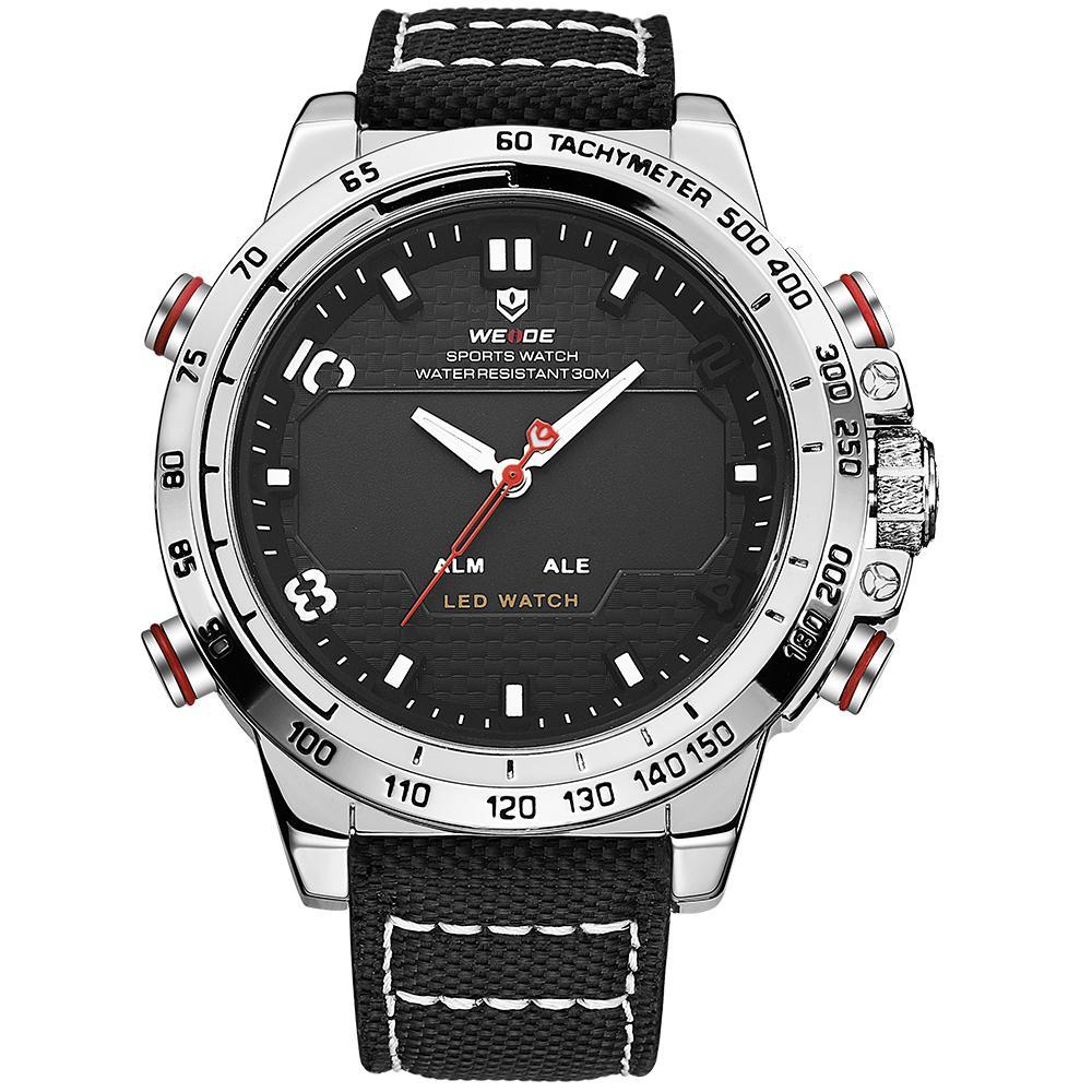 Weide WH6102-3C-BLACK DIAL Black Nylon Strap Watch for Men- - Watchportal Philippines