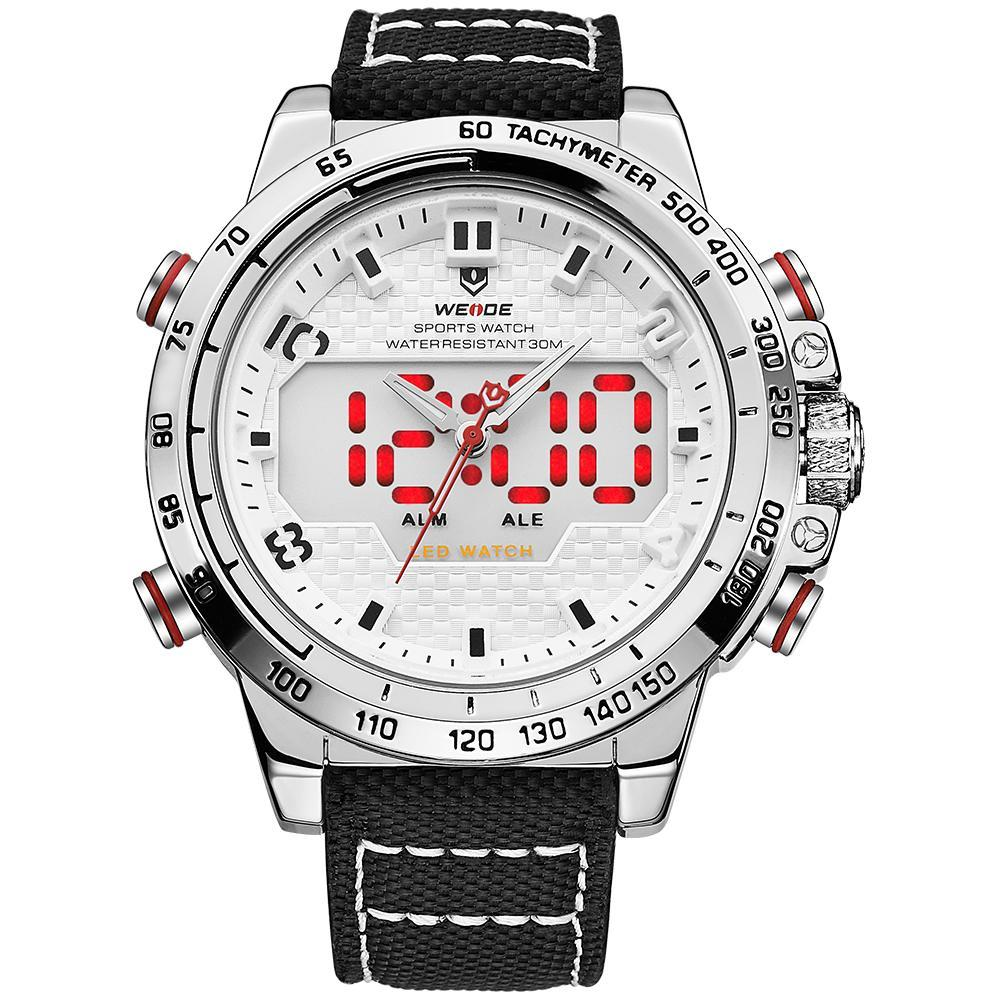 Weide WH6102-4C-WHITE DIAL Black Nylon Strap Watch for Men- - Watchportal Philippines