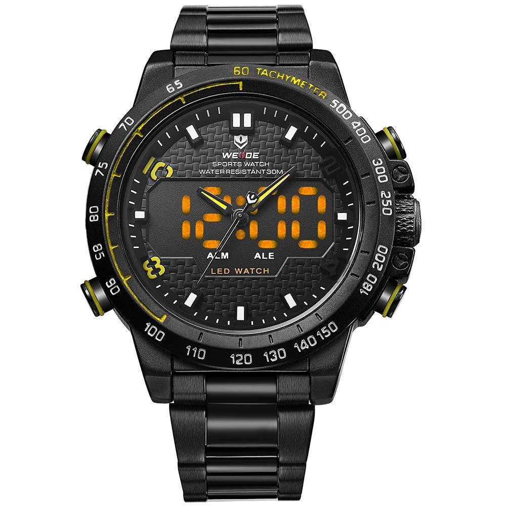 Weide WH6102B-3C-YELLOW INDEX Black Stainless Steel Strap Watch for Men- - Watchportal Philippines