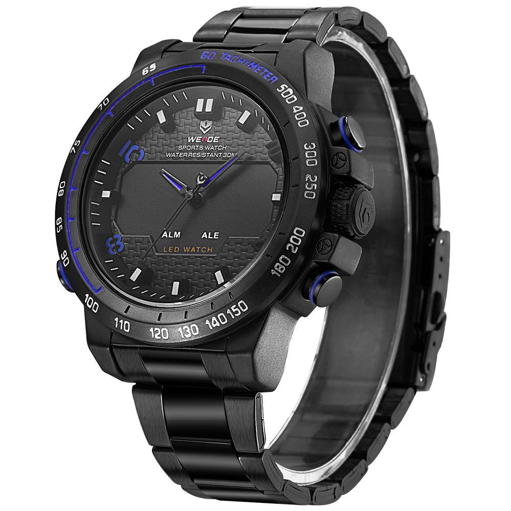 Weide WH6102B-4C-BLUE INDEX Black Stainless Steel Strap Watch for Men- - Watchportal Philippines