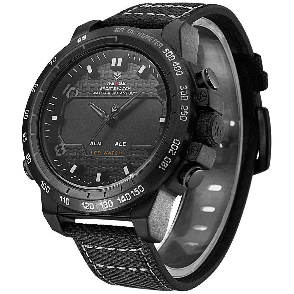 Weide WH6102B-5C-GRAY INDEX Black Nylon Strap Watch for Men- - Watchportal Philippines
