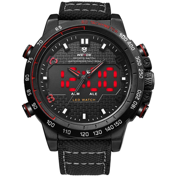 Weide WH6102B-6C-RED INDEX Black Nylon Strap Watch for Men- - Watchportal Philippines