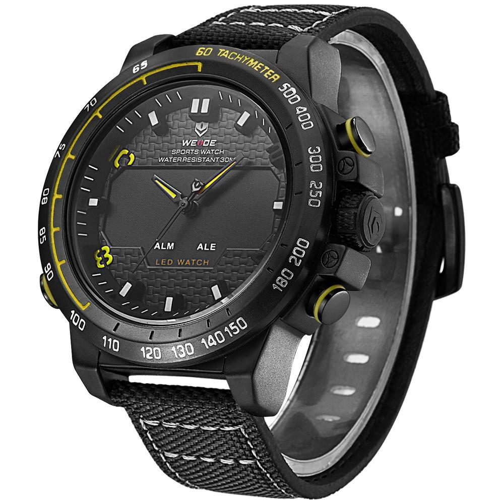 Weide WH6102B-7C-YELLOW INDEX Black Nylon Strap Watch for Men- - Watchportal Philippines