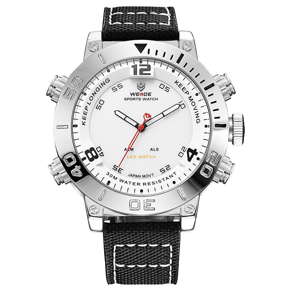 Weide WH6103-2C-WHITE DIAL Black Nylon Strap Watch for Men- - Watchportal Philippines