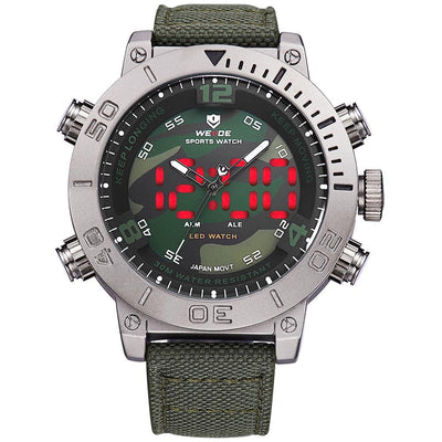 Weide WH6103-3C-CAMOU DIAL Green Nylon Strap Watch for Men- - Watchportal Philippines