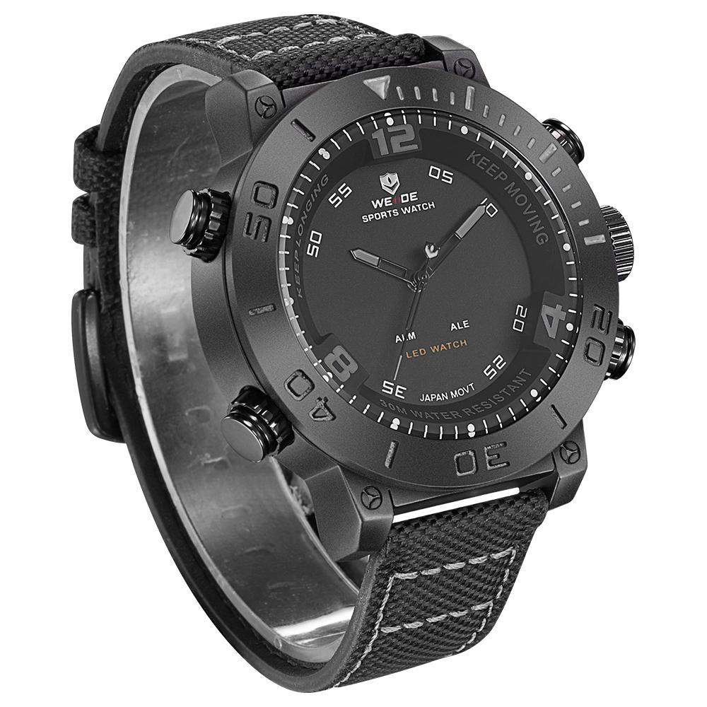 Weide WH6103B-1C-GRAY INDEX Black Nylon Strap Watch for Men- - Watchportal Philippines