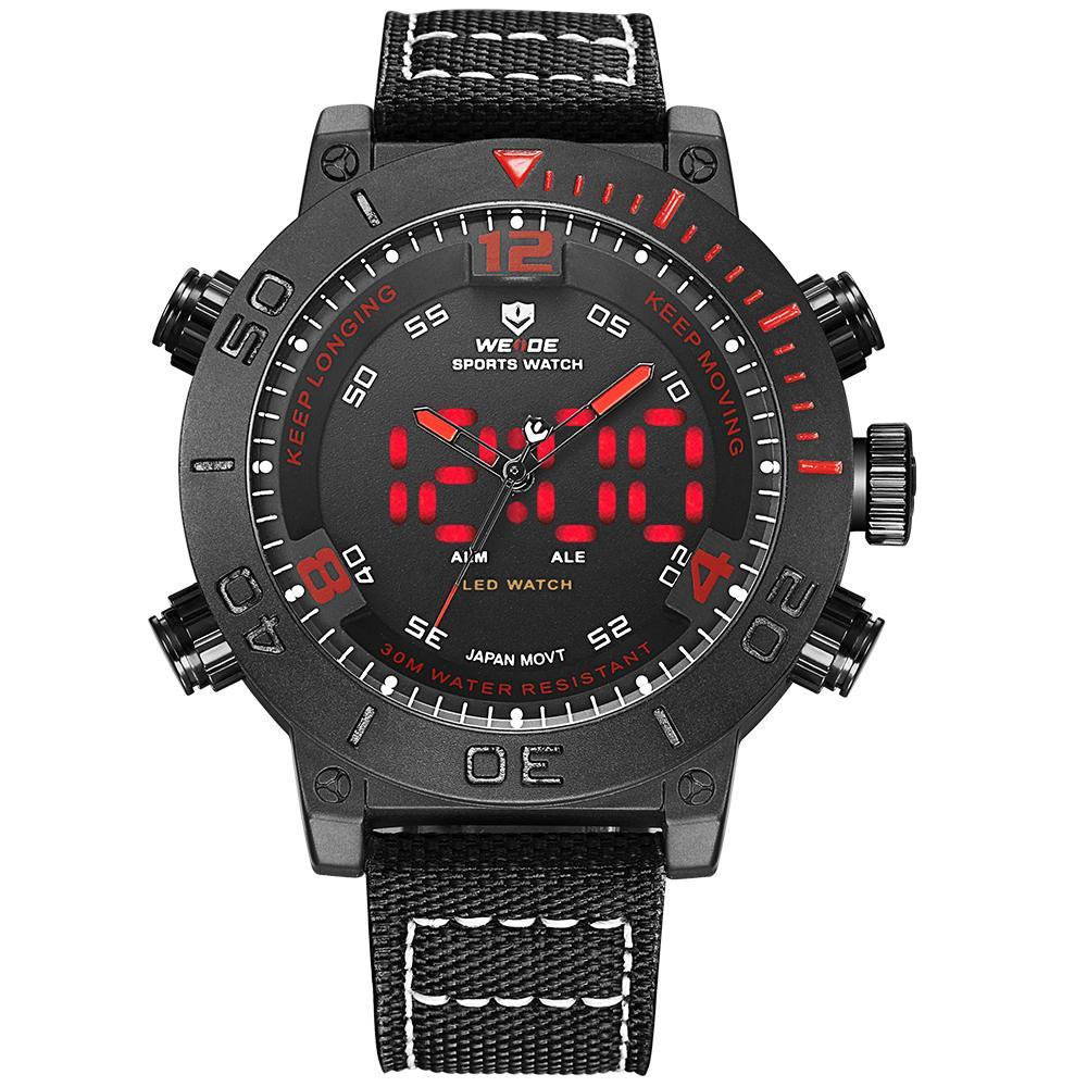 Weide WH6103B-2C-RED INDEX Black Nylon Strap Watch for Men- - Watchportal Philippines