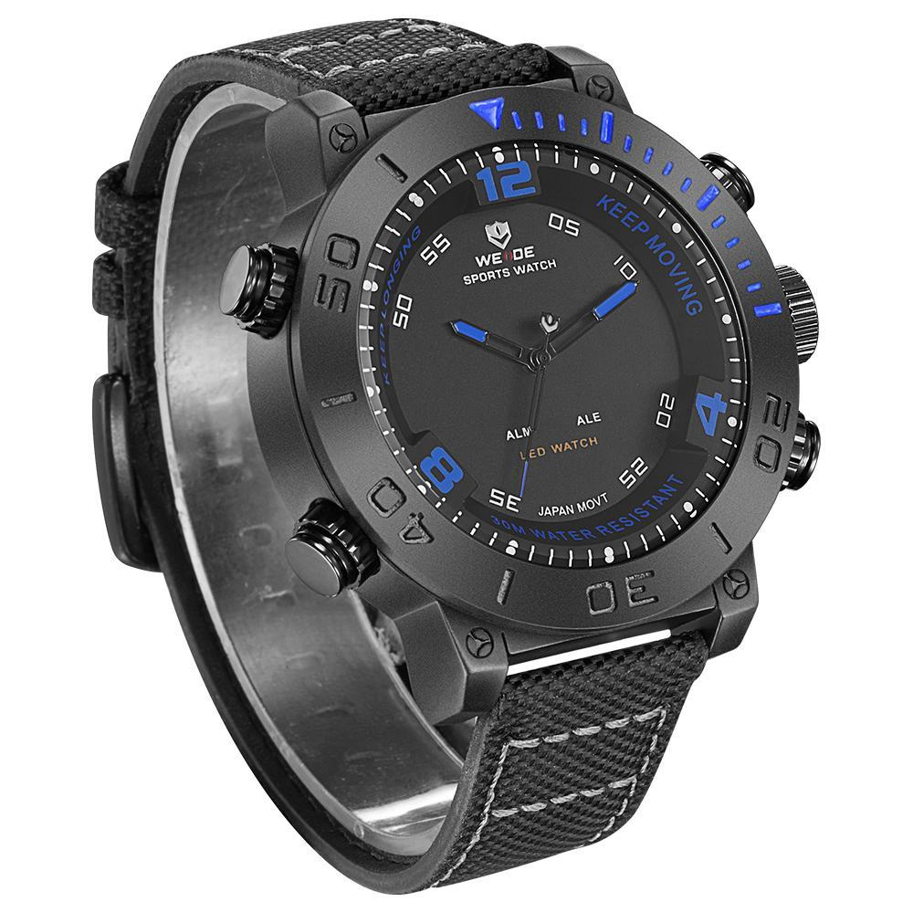 Weide WH6103B-4C-BLUE INDEX Black Nylon Strap Watch for Men- - Watchportal Philippines