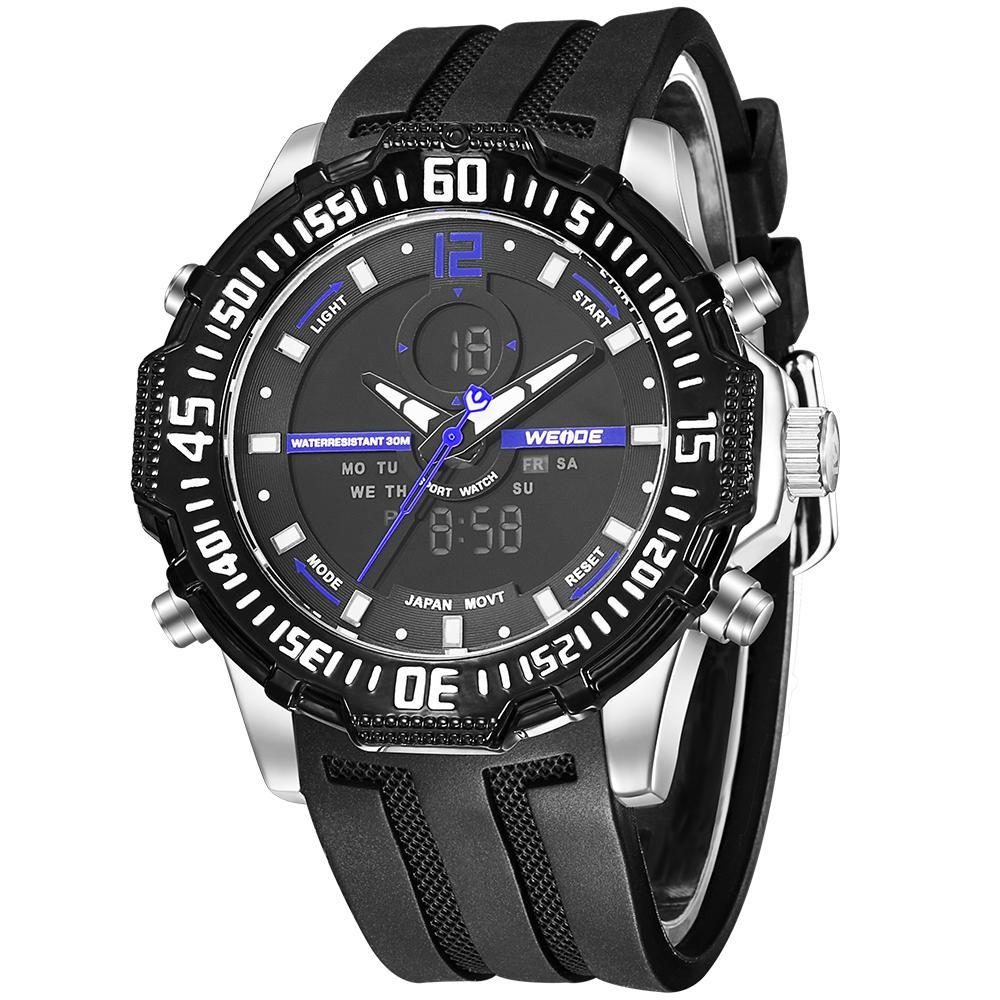 Weide WH6105-11C-BLUE INDEX Black Silicon Band Watch for Men- - Watchportal Philippines