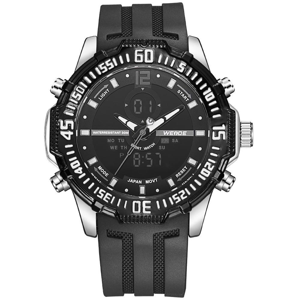 Weide WH6105-7C-BLACK DIAL Black Silicon Band Watch for Men- - Watchportal Philippines