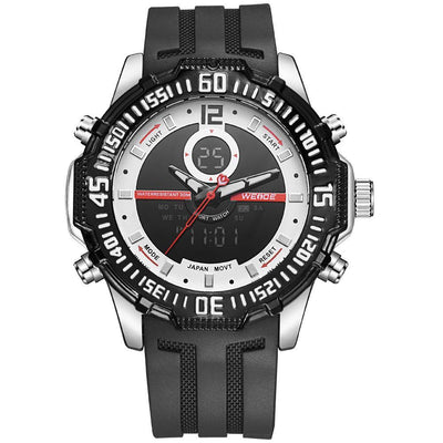 Weide WH6105-8C-WHITE DIAL Black Silicon Band Watch for Men- - Watchportal Philippines