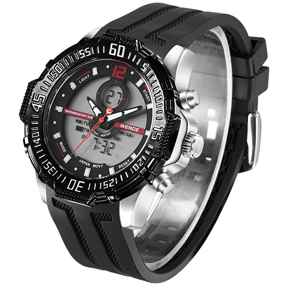 Weide WH6105-9C-RED INDEX Black Silicon Band Watch for Men- - Watchportal Philippines