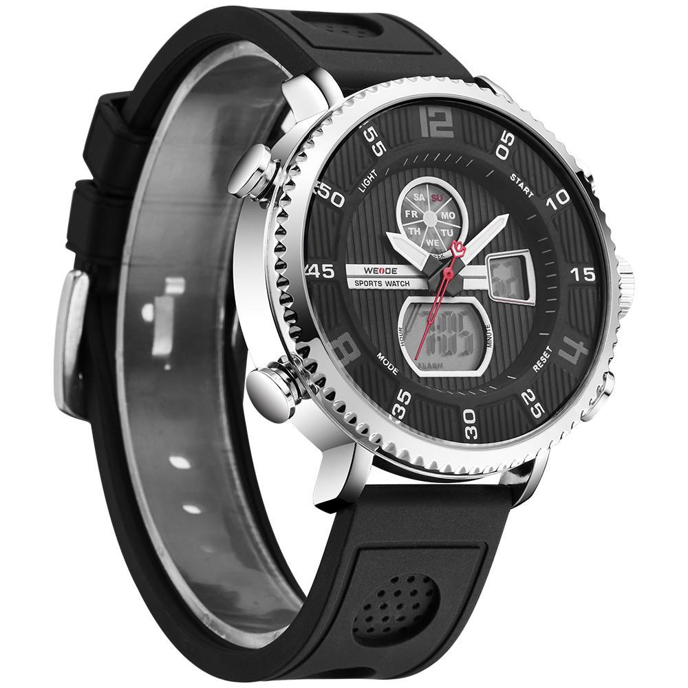Weide WH6106-1C-BLACK DIAL Black Genuine Leather Watch for Men- - Watchportal Philippines