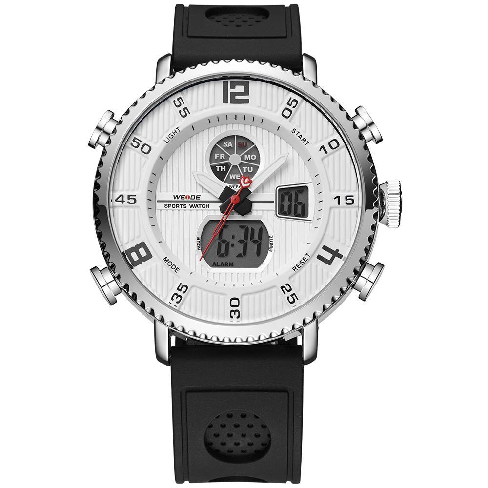 Weide WH6106-2C-WHITE DIAL Black Genuine Leather Watch for Men- - Watchportal Philippines
