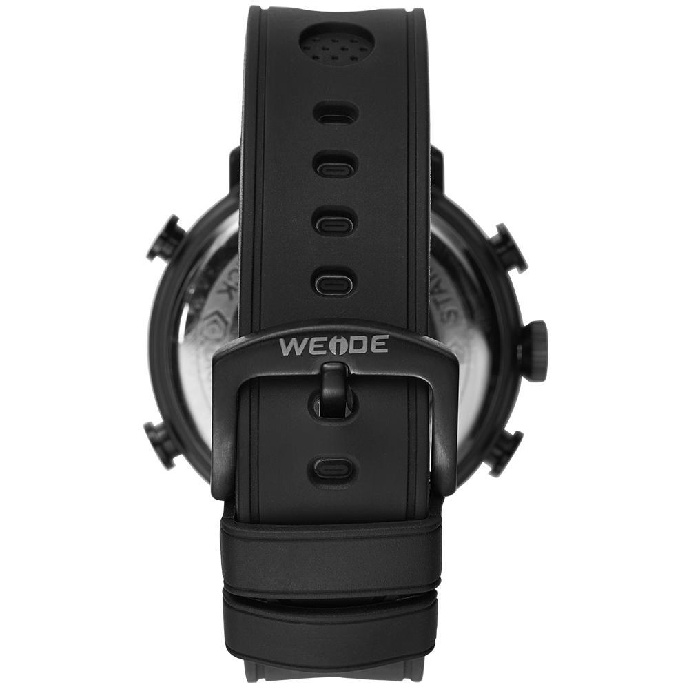 Weide WH6106B-4C-BLUE INDEX Black Genuine Leather Watch for Men- - Watchportal Philippines