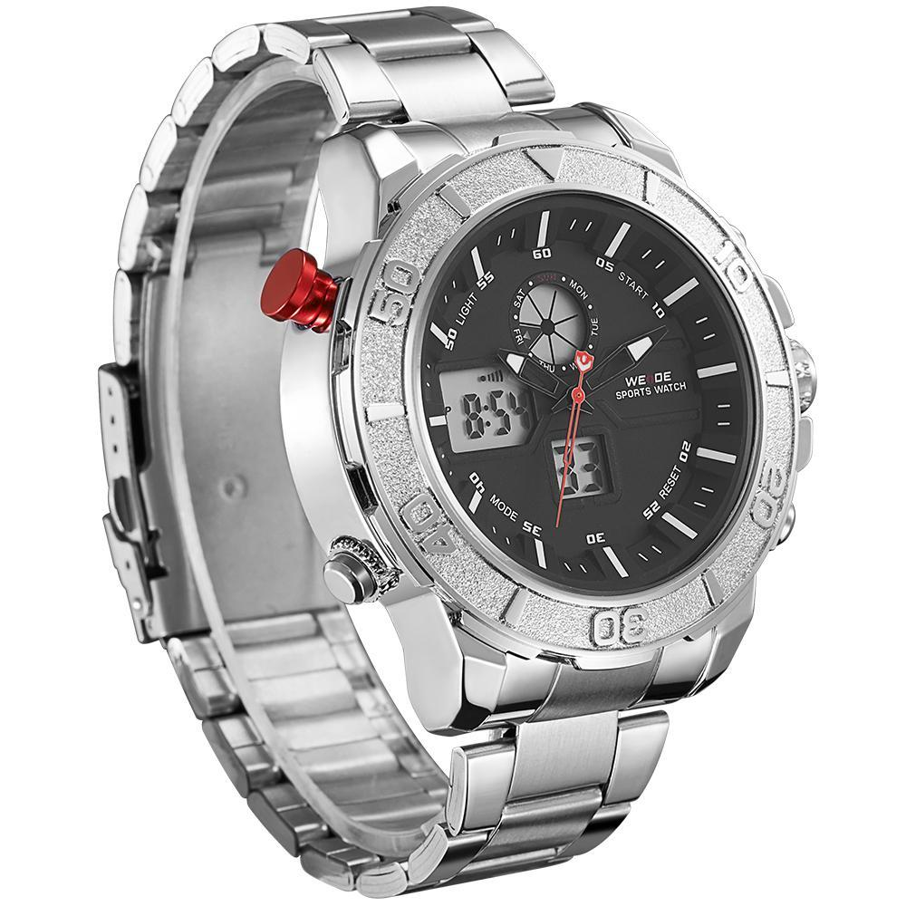 Weide WH6108-1C-BLACK DIAL Silver Stainless Steel Strap Watch for Men- - Watchportal Philippines