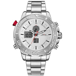 Weide WH6108-2C-WHITE DIAL Silver Stainless Steel Strap Watch for Men- - Watchportal Philippines