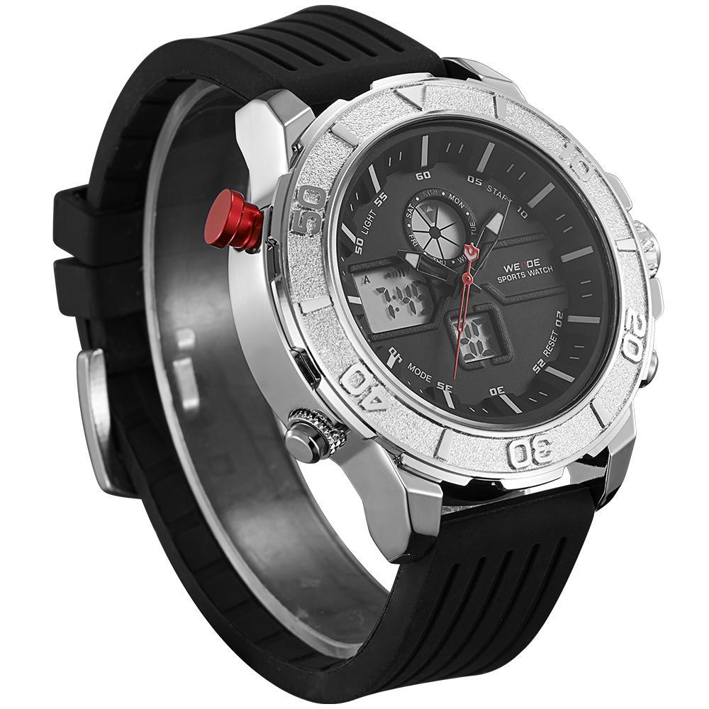 Weide WH6108-3C-BLACK DIAL Black Silicon Strap Watch for Men- - Watchportal Philippines