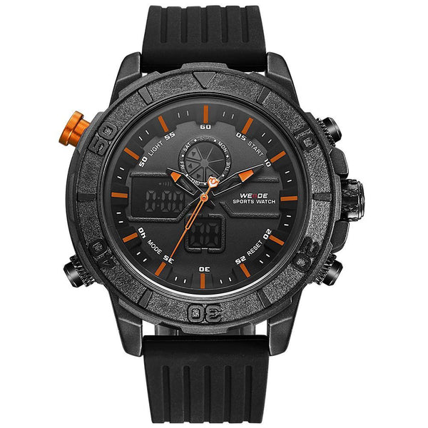 Weide WH6108B-10C-ORANGE INDEX Black Silicon Strap Watch for Men- - Watchportal Philippines