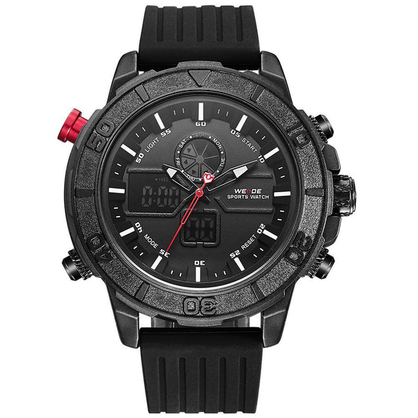 Weide WH6108B-6C-WHITE INDEX Black Silicon Strap Watch for Men- - Watchportal Philippines