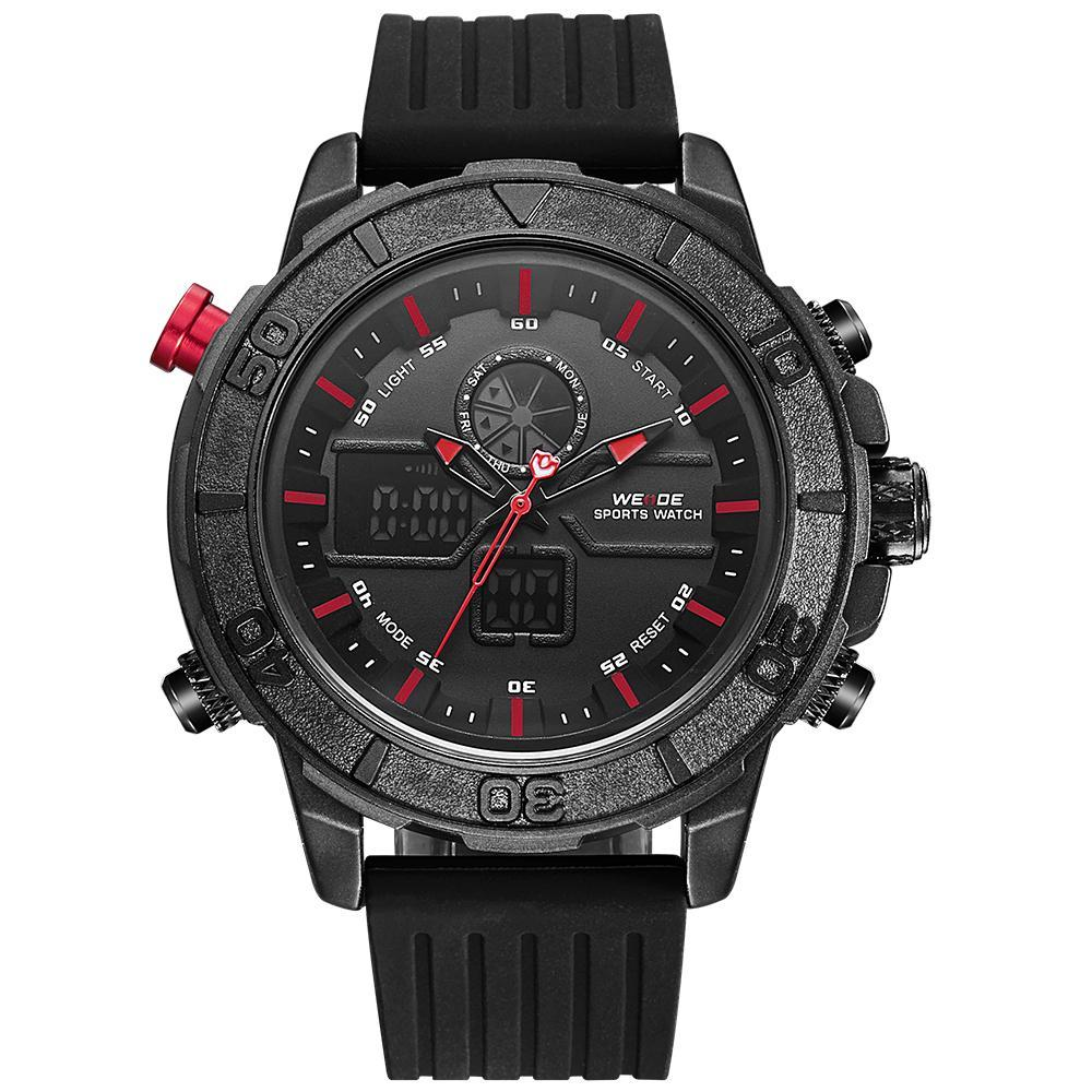 Weide WH6108B-7C-RED INDEX Black Silicon Strap Watch for Men- - Watchportal Philippines