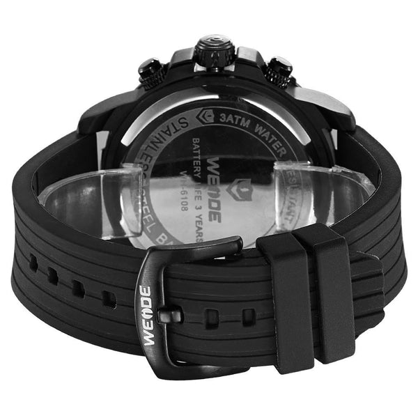Weide WH6108B-9C-BLUE INDEX Black Silicon Strap Watch for Men- - Watchportal Philippines