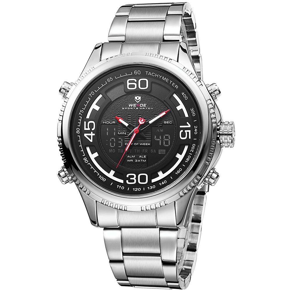 Weide WH6306-1C-BLACK DIAL Silver Stainless Steel Watch for Men- - Watchportal Philippines