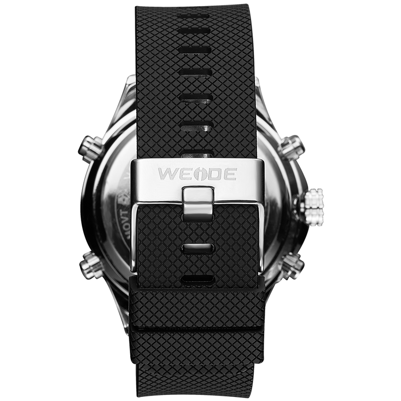 Weide WH6306-3C-BLACK DIAL Black Silicon Band Watch for Men- - Watchportal Philippines