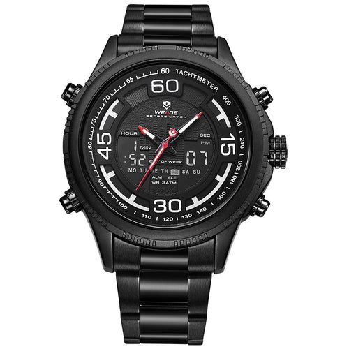 Weide WH6306B-1C-WHITE INDEX Black Stainless Steel Watch for Men- - Watchportal Philippines