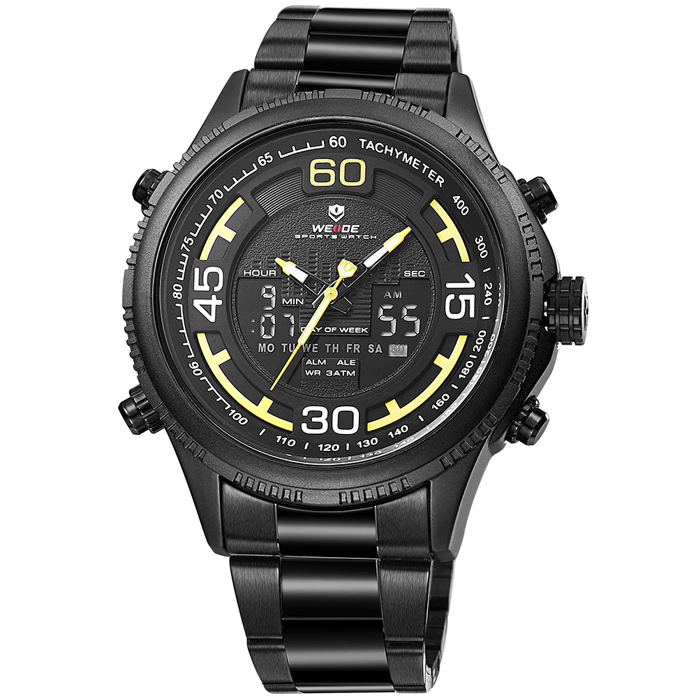 Weide WH6306B-3C-YELLOW INDEX Black Stainless Steel Watch for Men- - Watchportal Philippines
