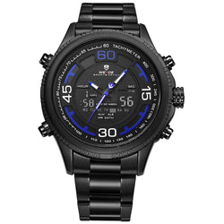 Weide WH6306B-4C-BLUE INDEX Black Stainless Steel Watch for Men- - Watchportal Philippines