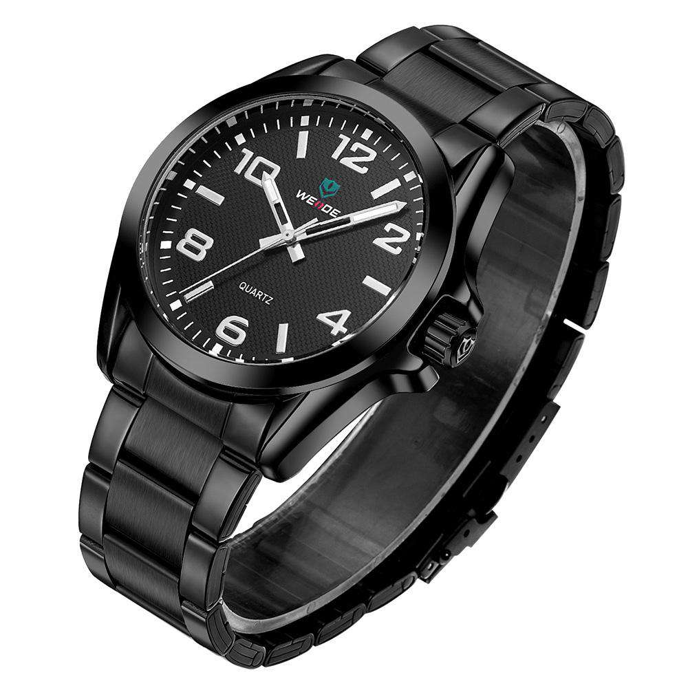 Weide WH801B-1C-BLACK DIAL Black Stainless Steel Watch for Men-