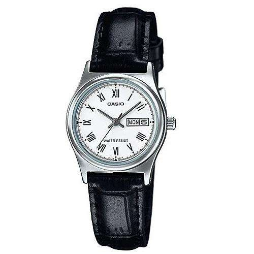 Casio LTP-V006L-7B Black Leather Strap Watch for Women