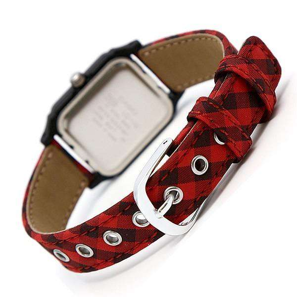 Casio LQ-142LB-4ADF Red Leather Strap Watch for Women