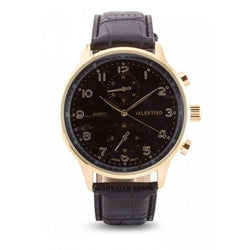 Valentino  20121921-BLK STRAP - BLACK DIAL CLASSIC IWC LTR IPG STYLE LEATHER STRAP Watch For Men - Watchportal Philippines