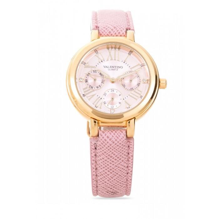 Valentino  20121923-PINK DIAL CLASSIC SHN LTHR IP GOLD LEATHER STRAP Watch For Women - Watchportal Philippines