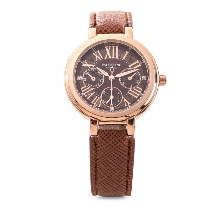 Valentino 20121924-BROWN DIAL CLASSIC SHN LTHR IP ROSE LEATHER STRAP Watch For Women - Watchportal Philippines