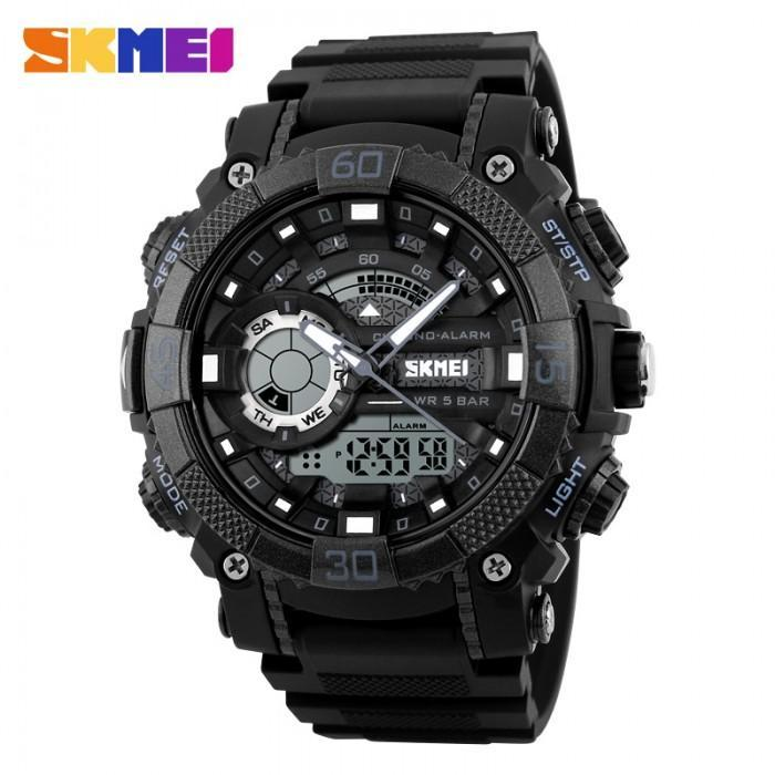 SKMEI AD1228 Black Rubber Strap Watch For Men - Watchportal Philippines