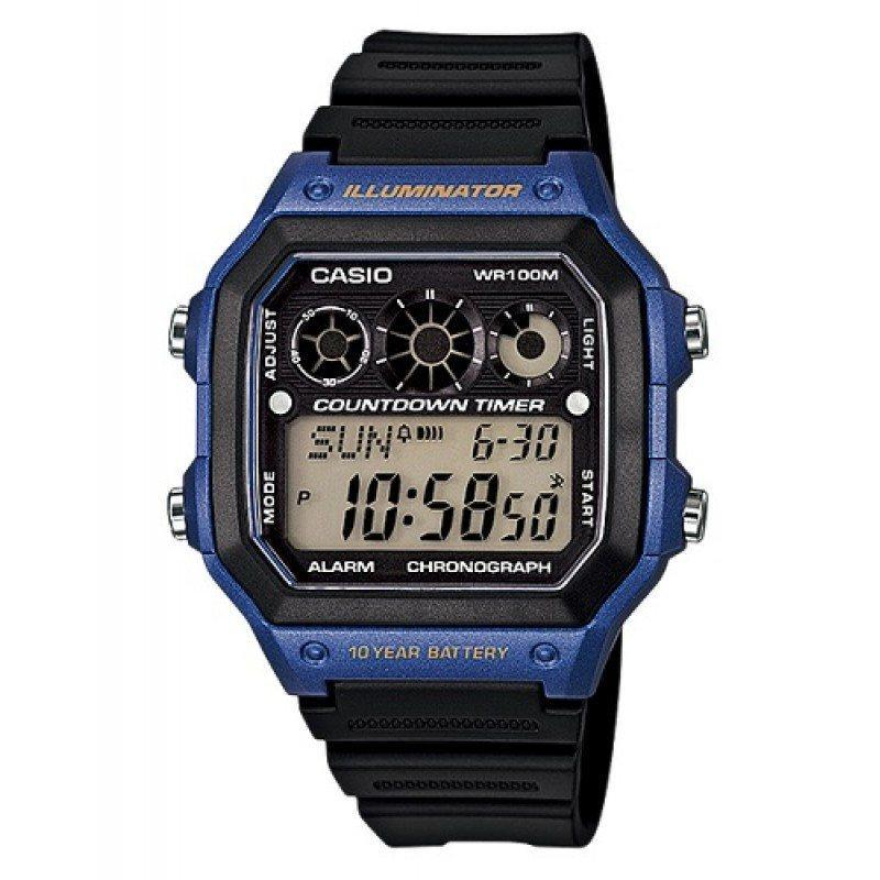 Watches - Casio Standard Men's Black/Blue Resin Strap Watch AE-1300WH-2A