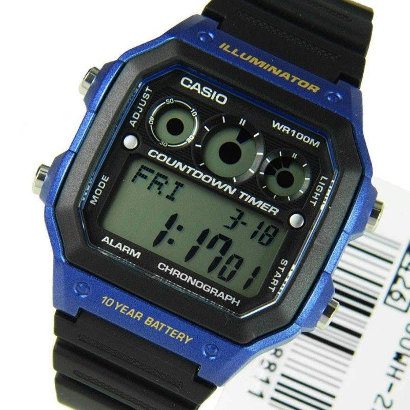 Casio Standard Men's Black/Blue Resin Strap Watch AE-1300WH-2A - Watchportal Philippines