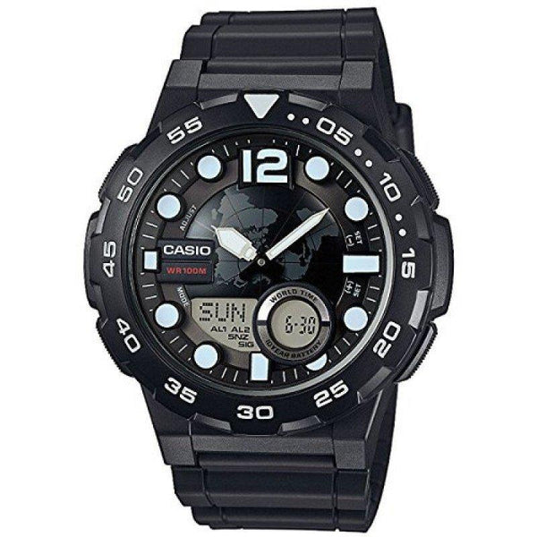 Casio AEQ-100W-1A Black Resin Strap Watch for Men - Watchportal Philippines