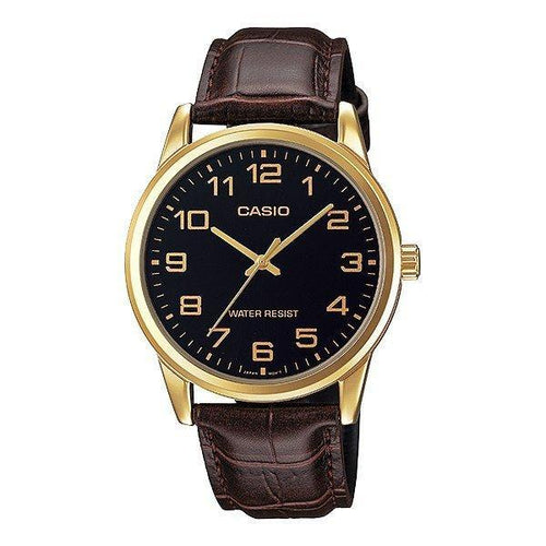 Watches - Casio Standard Men's Brown Leather Strap Watch MTP-V001GL-1B